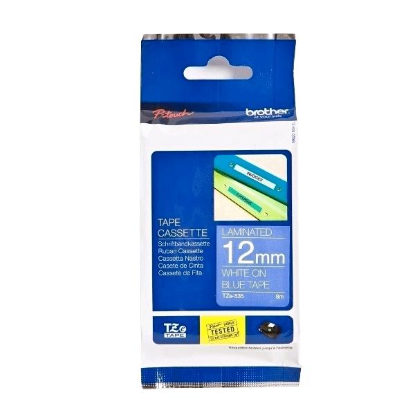 Banda Brother TZE535, 12mm, alb/albastru