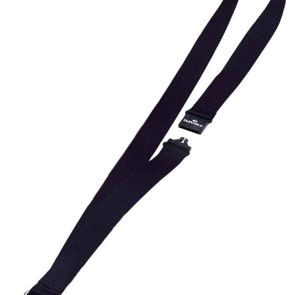 Snur textil pentru ecuson, Durable, 80cm lungime, negru, 10buc/cutie
