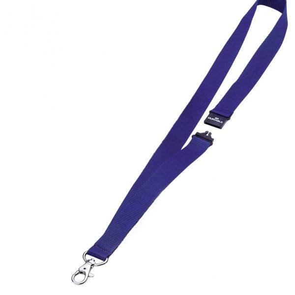 Snur textil pentru ecuson, Durable, 80cm lungime, albastru, 10buc/cutie