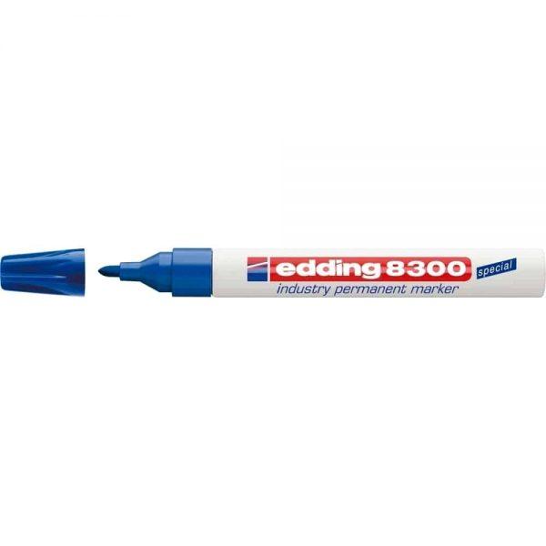 Marker permanent Edding 8300 Industrial, corp metalic, varf rotund, 1.5-3 mm, albastru
