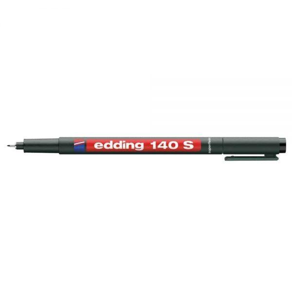 Marker permanent Edding OHP 140S, corp plastic, varf rotund, 0.3 mm, negru