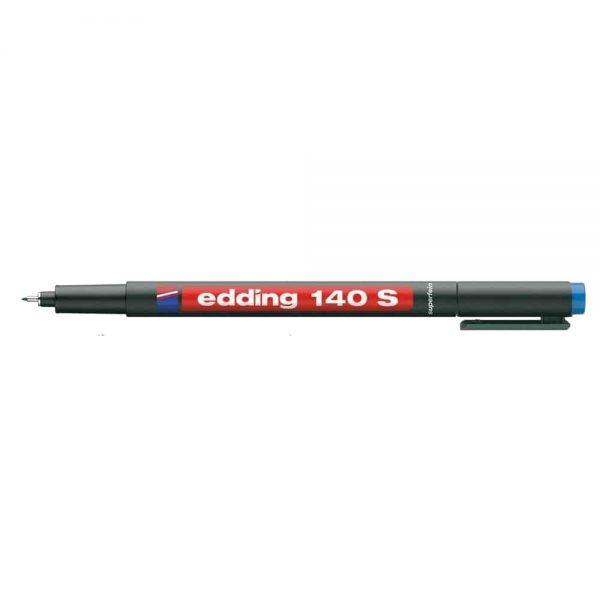 Marker permanent Edding OHP 140S, corp plastic, varf rotund, 0.3 mm, albastru