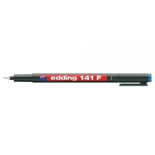Marker permanent Edding OHP 141F, corp plastic, varf rotund, 0.6 mm, albastru