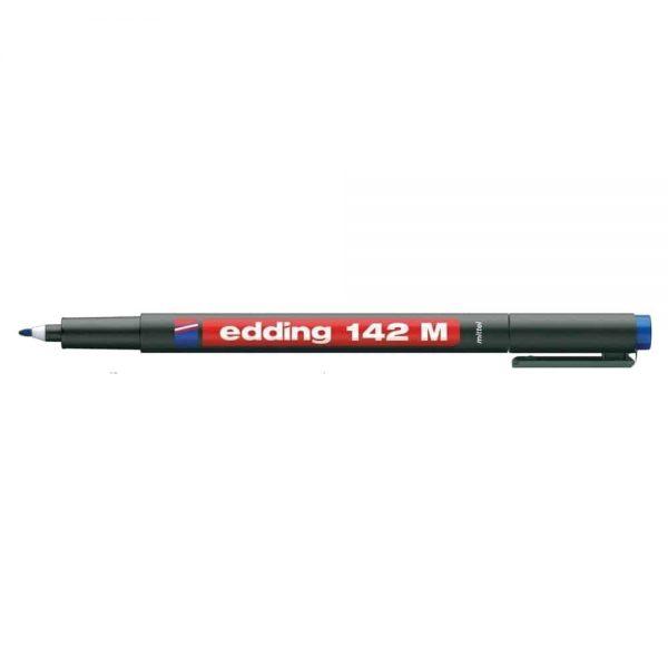 Marker permanent Edding OHP 142M, corp plastic, varf rotund, 1 mm, albastru