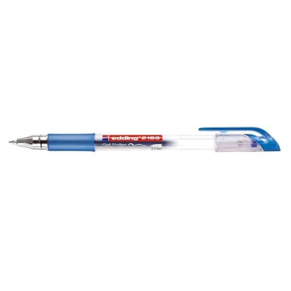 Roller cu gel, Edding, Cristal Jelly 2185, corp plastic,transparent, grip cauciucat, in culoarea scrierii,vf.0.7mm, albastru