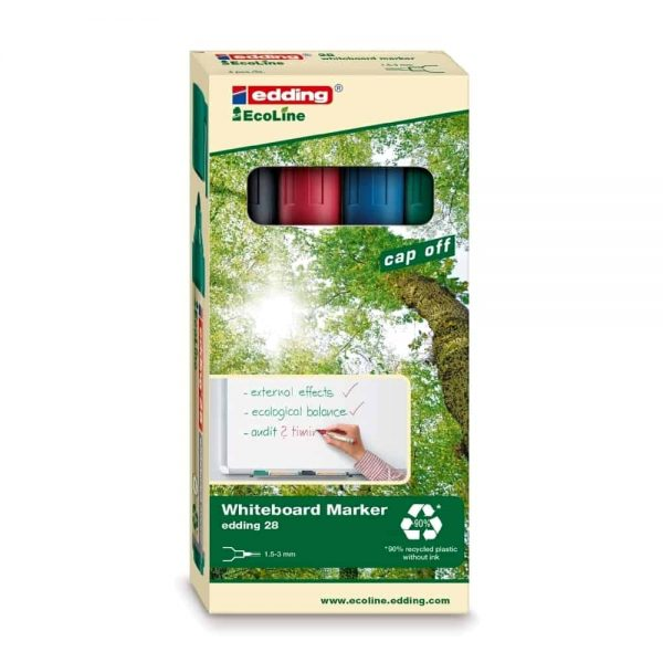 Marker pentru tabla, Edding, 28, ecologic, vf rotund,1.5-3mm, 4 culori/set