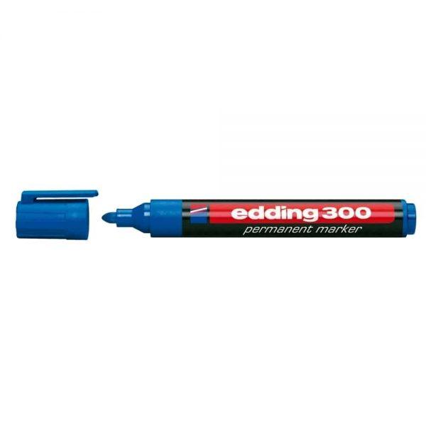 Marker permanent Edding 300, corp plastic, varf rotund, 1.5-3 mm, albastru