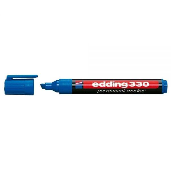 Marker permanent Edding 330, corp plastic, varf retezat, 1-5 mm, albastru