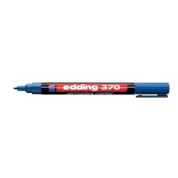 Marker permanent Edding 370, corp plastic, varf rotund, 1 mm, albastru