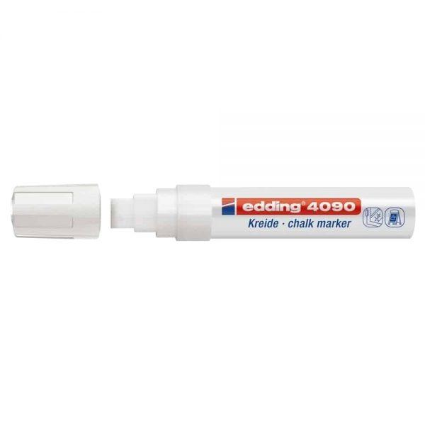 Marker pentru sticla Edding 4090, creta lichida pe baza de apa, varf retezat, 4-15 mm, alb