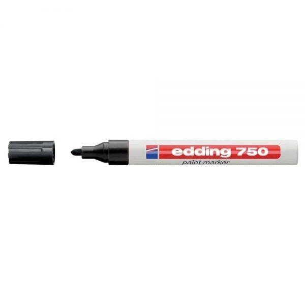 Marker permanent, Edding, cu vopsea, 750, corp metalic, alb, capac in culoarea scrierii,vf.rotund,2-2-4mm, negru