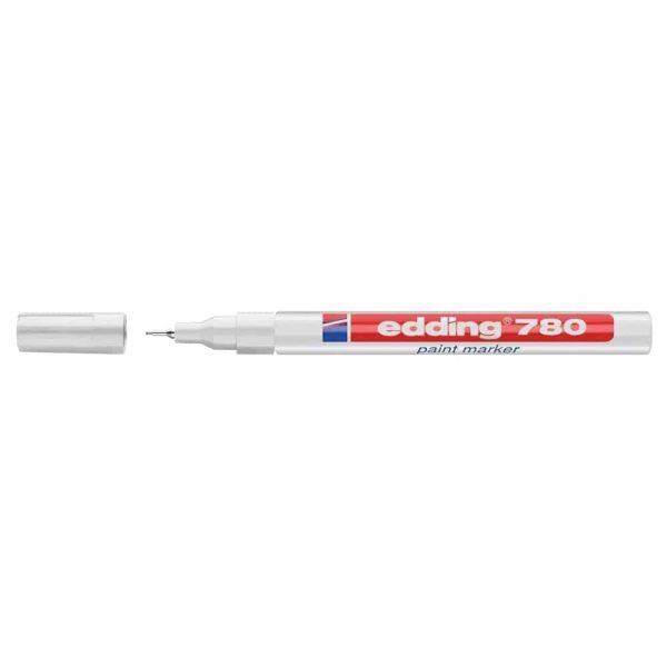 Marker permanent Edding 780, cu vopsea, corp aluminiu, varf rotund, 0.8 mm, argintiu