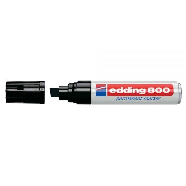 Marker permanent Edding 800, corp aluminiu, varf retezat, 4-12 mm, negru