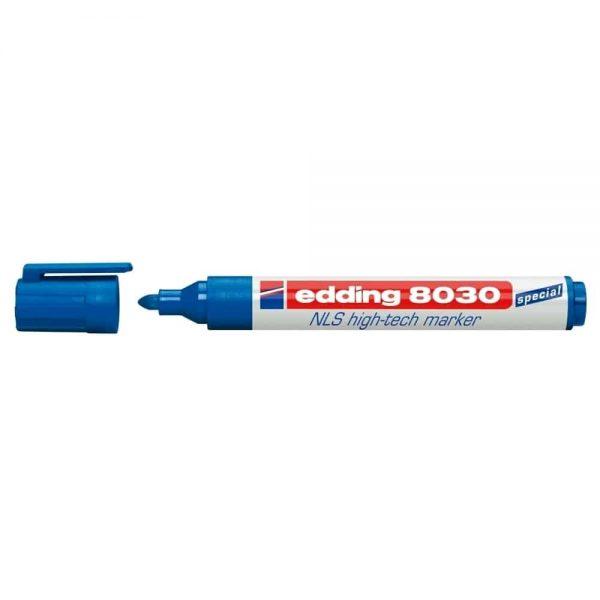 Marker permanent Edding 8030, varf rotund, 1.5-3 mm, albastru