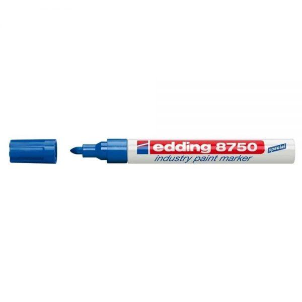 Marker permanent Edding 8750, cu vopsea, corp aluminiu, varf rotund, 2-4 mm, albastru