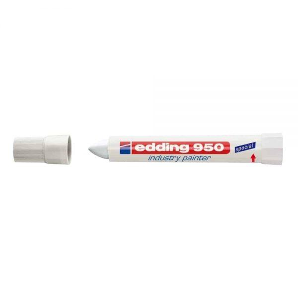 Marker permanent Edding 950 Industrial, varf 10mm, alb