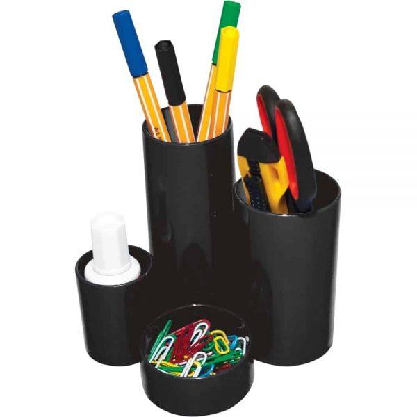 Suport pentru accesorii de birou Flaro, 6 compartimente, neechipat, negru