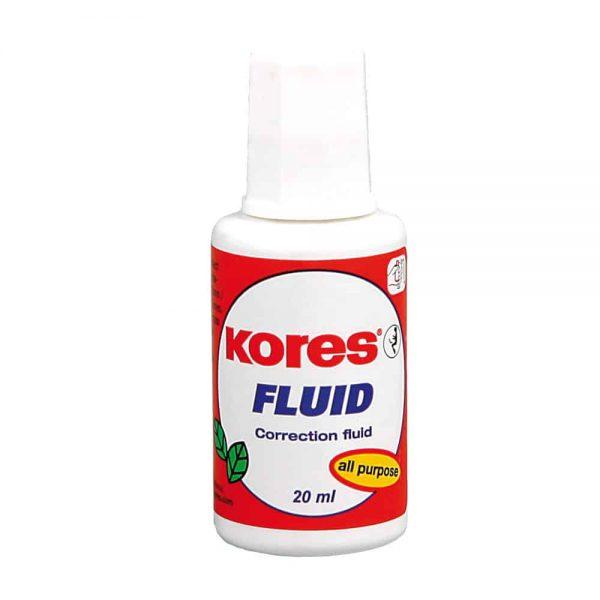 Fluid corector Kores 20ml, pe baza de solvent, aplicator cu pensula