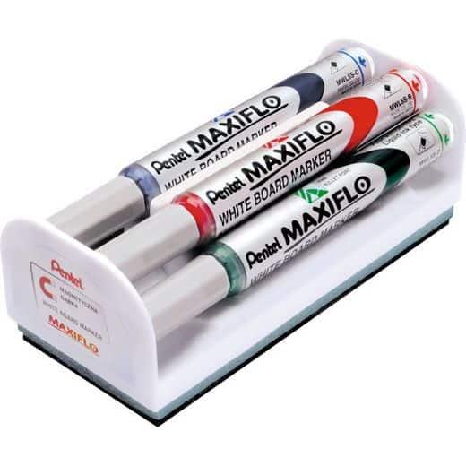 Set markere pentru tabla, 4 markere asortate + burete magnetic, Maxiflo