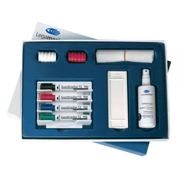 Set, Legamaster, pentru whiteboard, Starter, format din burete magnetic, 10 servetele pentru burete,4 markere asortate, un suport pentru markere, o sticla solutie de curatat, 10magneti