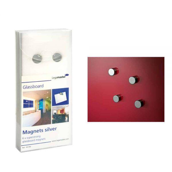 Legamaster Set 6 magneti pentru tabla din sticla, culoare gri
