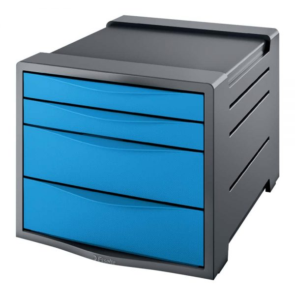 Suport documente Esselte Europost, albastru, cu 4 sertare, plastic