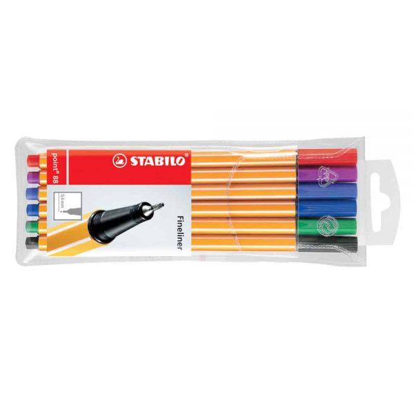 Liner Stabilo Point 88, varf fetru, 0.4 mm, 6 culori/set