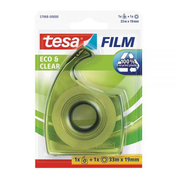 Banda adeziva transparenta Tesa, 19 mm x 33 m, cu dispenser EasyCut