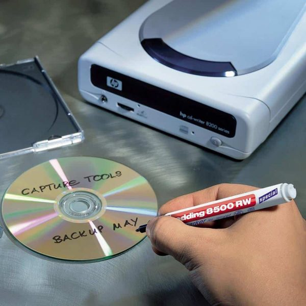 Marker nepermanent Edding CD 8500, varf rotund, 1 mm, negru