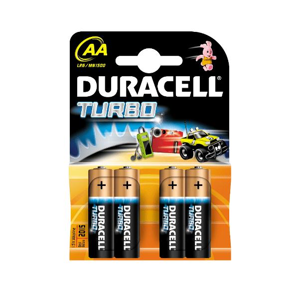 Baterii Duracell Turbo, LR6, AA, alcaline, 1.5 V, 4 bucati/set