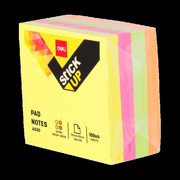 Notite adezive 75 x 75 mm, 400 file, 4 culori neon DELI