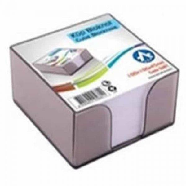 Cub hartie alb 8.5x8.5 mm, 500 coli + suport plastic transparent fumuriu