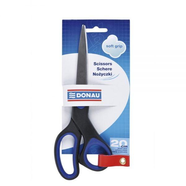 Foarfeca otel ergonomica, 20cm, cu rubber grip, DONAU Soft Grip - maner albastru