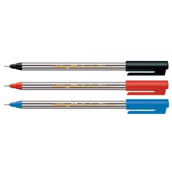 Liner Edding Office 89, varf fetru, 0.3 mm, 3 culori/set (negru, rosu, albastru)