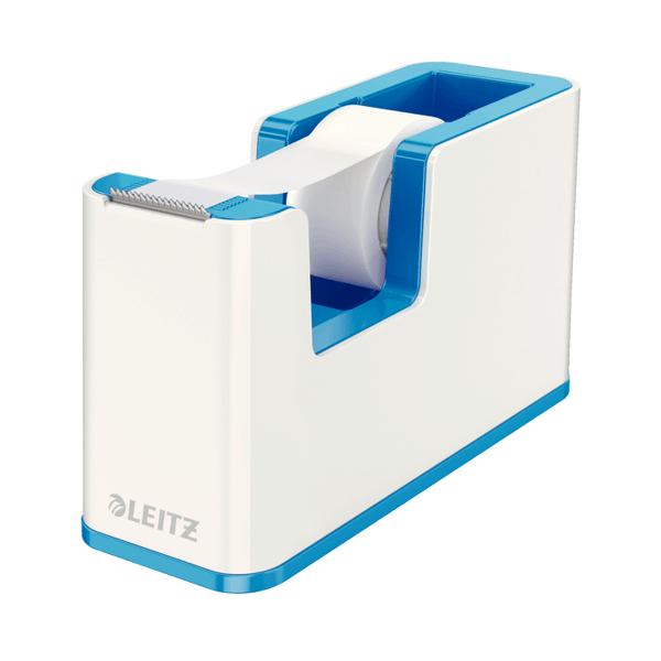 Dispenser banda adeziva Leitz WOW, banda inclusa, culori duale, albastru metalizat/alb
