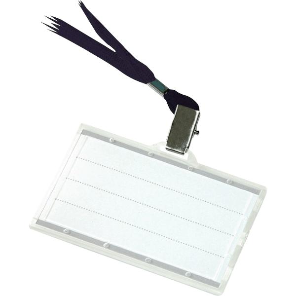 Ecuson orizontal Donau, 85 x 50 mm, cu snur negru, 50 bucati/cutie