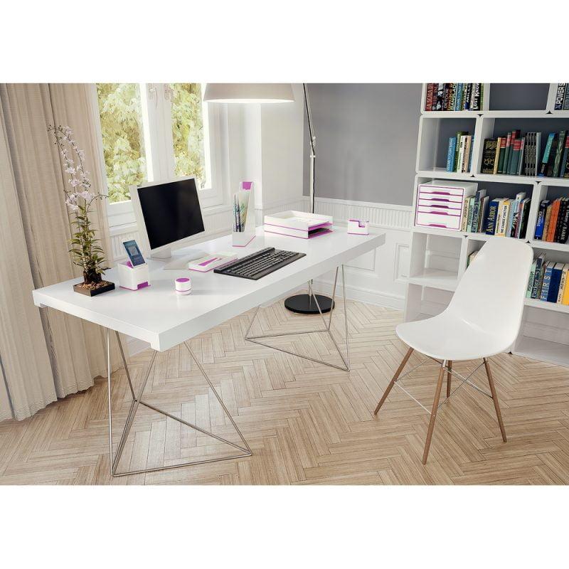 Dispenser banda adeziva Leitz WOW, banda inclusa, culori duale, roz metalizat/alb