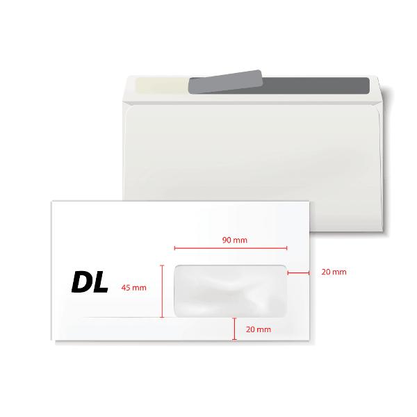Plic DL 110 x 220 mm, fereastra dreapta 35 x 90 mm, alb, banda silicon, 80 g/mp, 100 bucati/set
