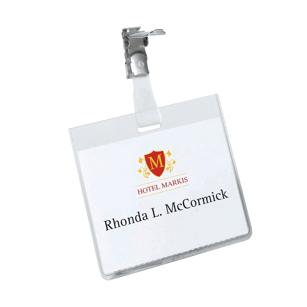 Ecuson orizontal Durable, 60 x 90 mm, cu clip, 25 buc/cutie