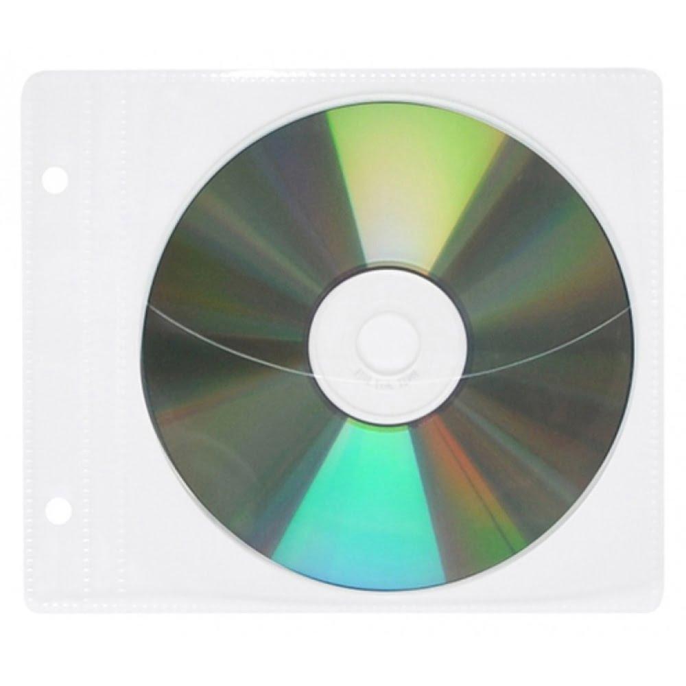 Plic plastic pentru CD/DVD, cu perforatii, 10 buc/set, Office Products - transparent