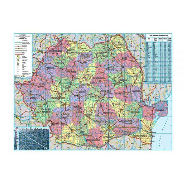 Harta Romaniei administrativa-rutiera-turistica, 100 x 140 cm, suprafata magnetica