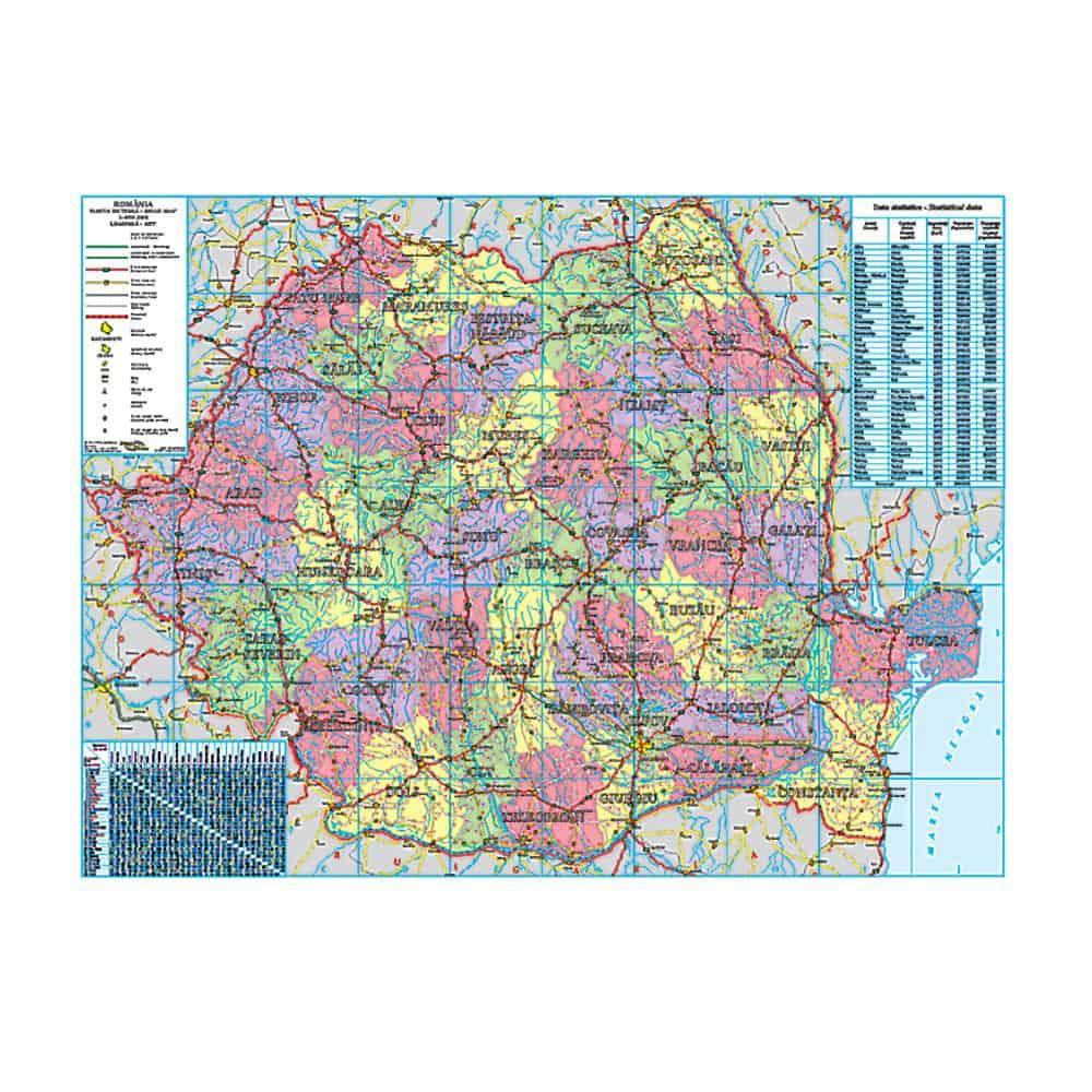 Harta De Perete Romania Administrativa 140x100 Cm Emag Ro