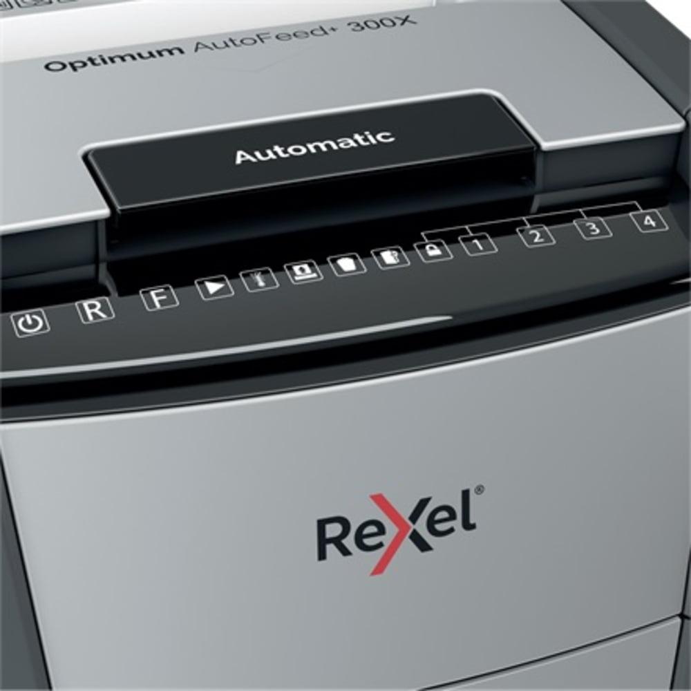 Distrugator documente automat REXEL OPTIMUM 300X, P4, cross-cut, 300 coli