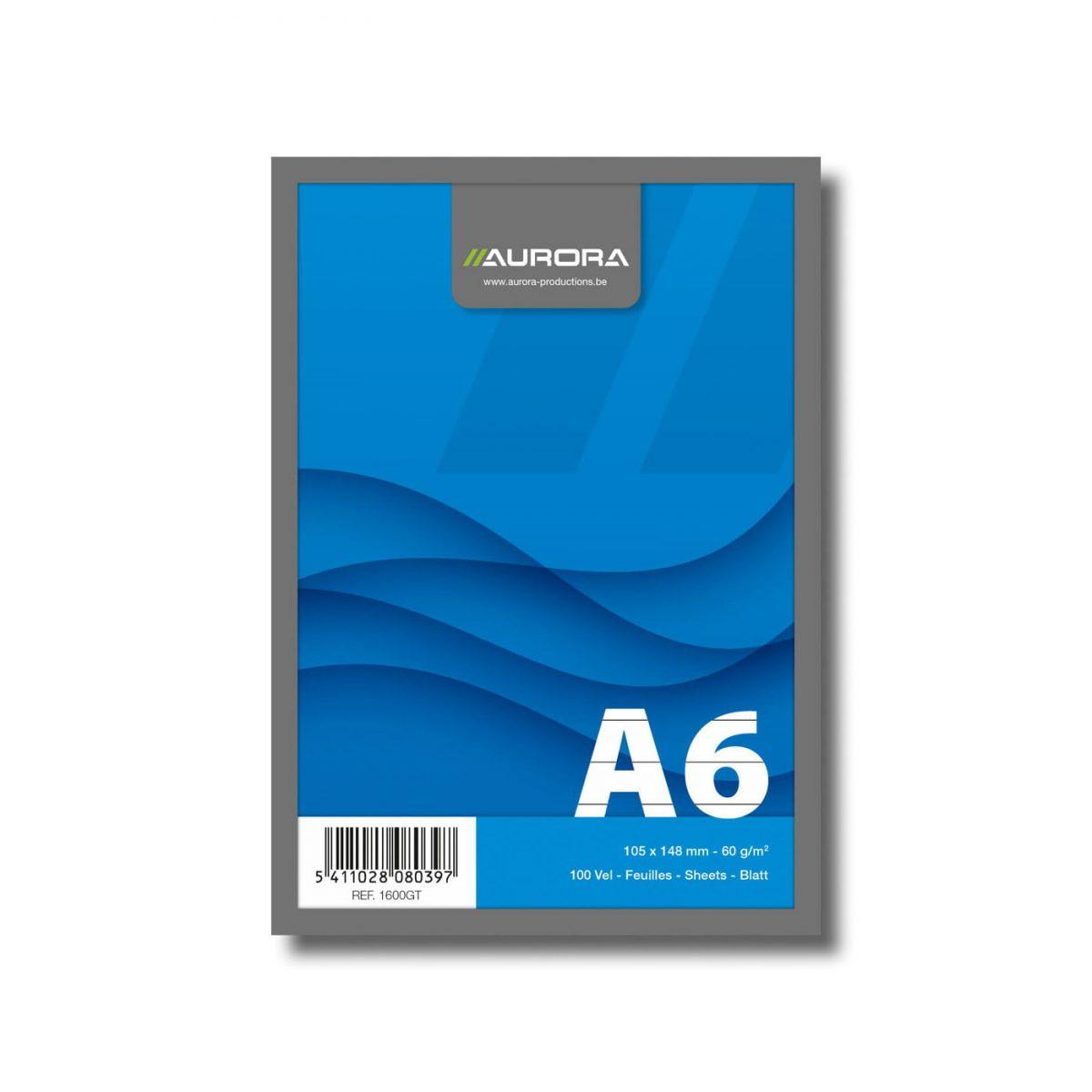 Blocnotes capsat A6, 100 file - 60g/mp, microperforatii, AURORA Office - dictando