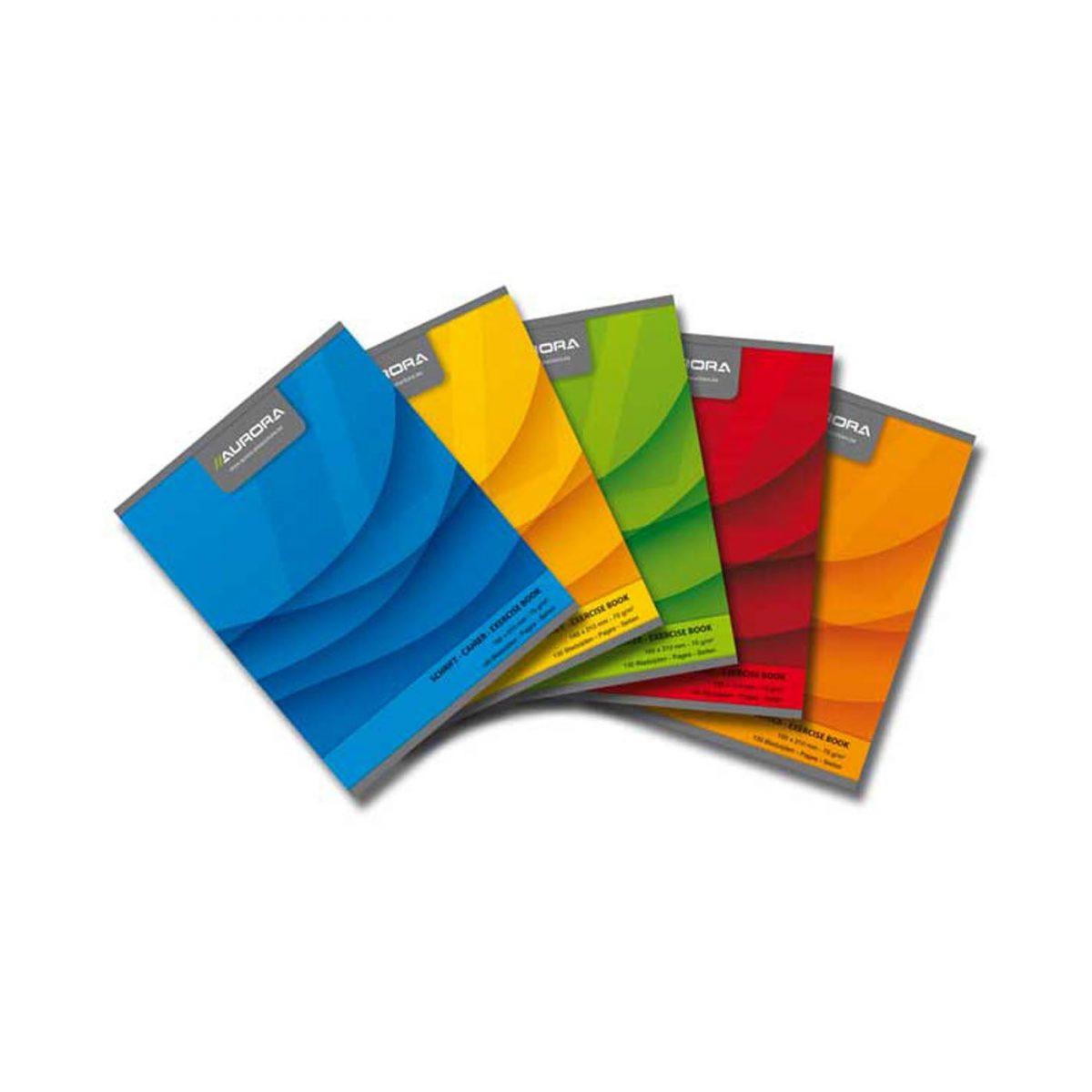 Caiet A5 60 file - 70g/mp, liniat stanga, coperta carton color, AURORA Office - matematica