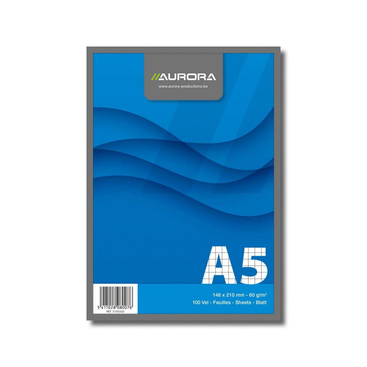 Blocnotes capsat A5, 100 file - 60g/mp, microperforatii, AURORA Office - dictando