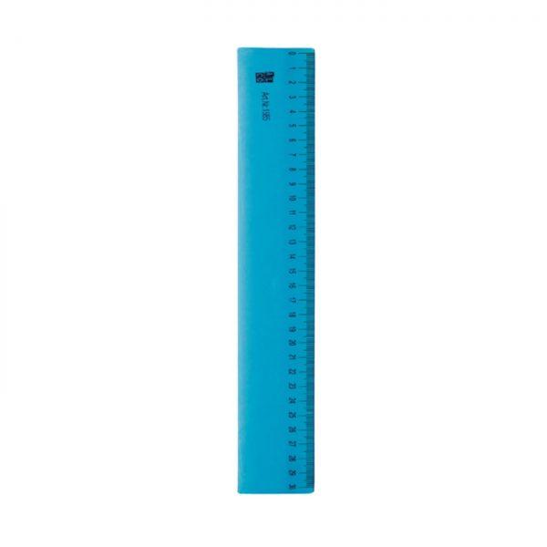 Rigla flexibila din plastic, 30cm, ALCO - albastru transparent