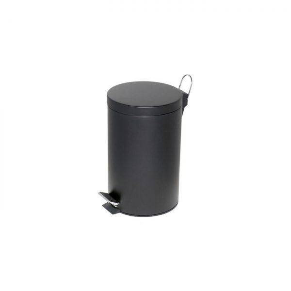 Cos metalic cu pedala si capac, forma rotunda, 12 litri, ALCO - negru