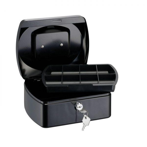 Caseta (cutie) metalica pentru bani, 255 x 200 x 90 mm, tavita monezi, ALCO - neagra
