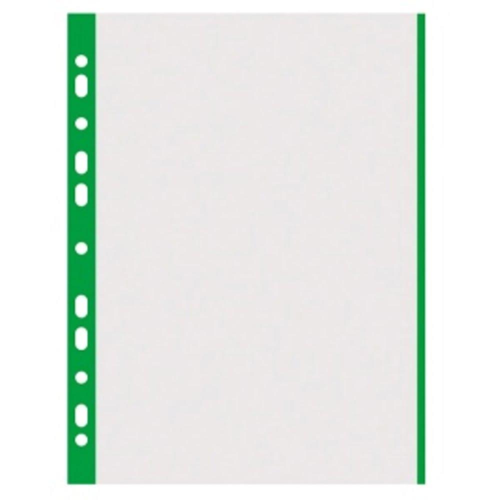 Folie protectie transparenta, cu margine color, 40 microni, 100 folii/set, DONAU - margine verde